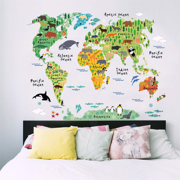 Funny & Educational Removable PVC Mural Wallpaper Animal World Map Wall Stickers Decal for Home Decoration 60 X 90cm