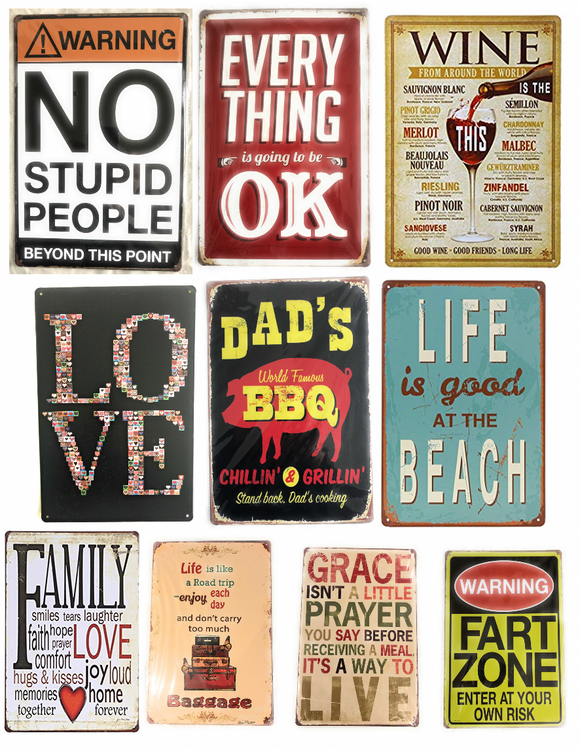 Vintage Decorative Metal Signs 8X12