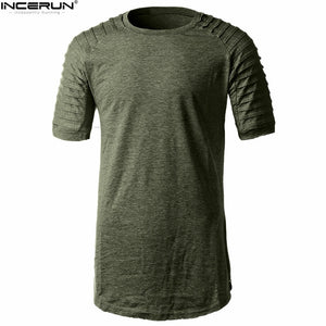 INCERUN 2018 Summer Fashion Shoulder Folds Side Zipper T-shirts Mens Short Sleeve Tops Plus Size Man's T-shirt camisetas hombre