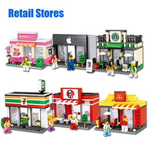 City Mini Street Toy Shop Retail Store 3D Model KFCE McDonald Cafe Apple Miniature Building Block for kid compatible with lego