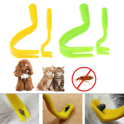 2Pcs Plastic Tick Remover Portable Twister Hook Horse Human Cat Dog Pet Supplies Yellow Green