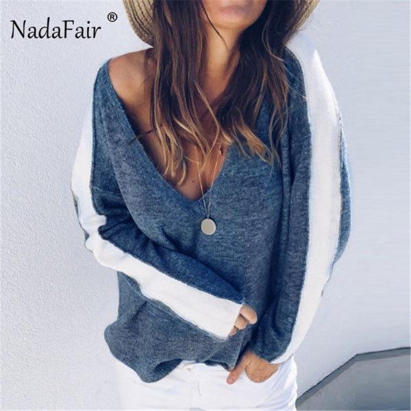 Nadafair autumn deep v neck casual loose striped sexy sweater women tops 2018 winter long sleeve knitted jumper pull femme hiver