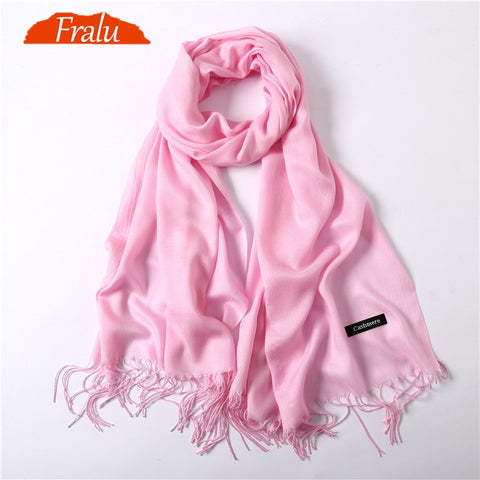 FRALU New fashion spring winter scarves for women shawls and wraps lady pashmina pure long cashmere head scarf hijabs stoles
