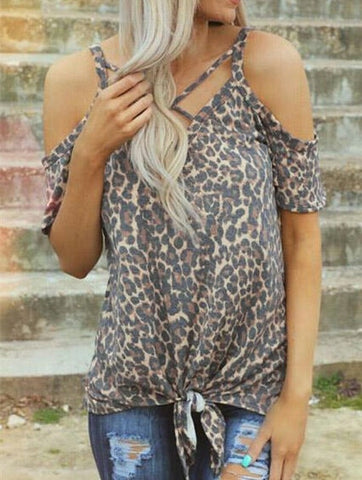 Fashion Women T-Shirt Female Leopard Printed Cold Shoulder Tees Women Tops For Summer 2019 V-Neck Tops Tee