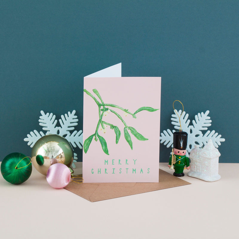 Merry Christmas Mistletoe Cards - Pack of 4