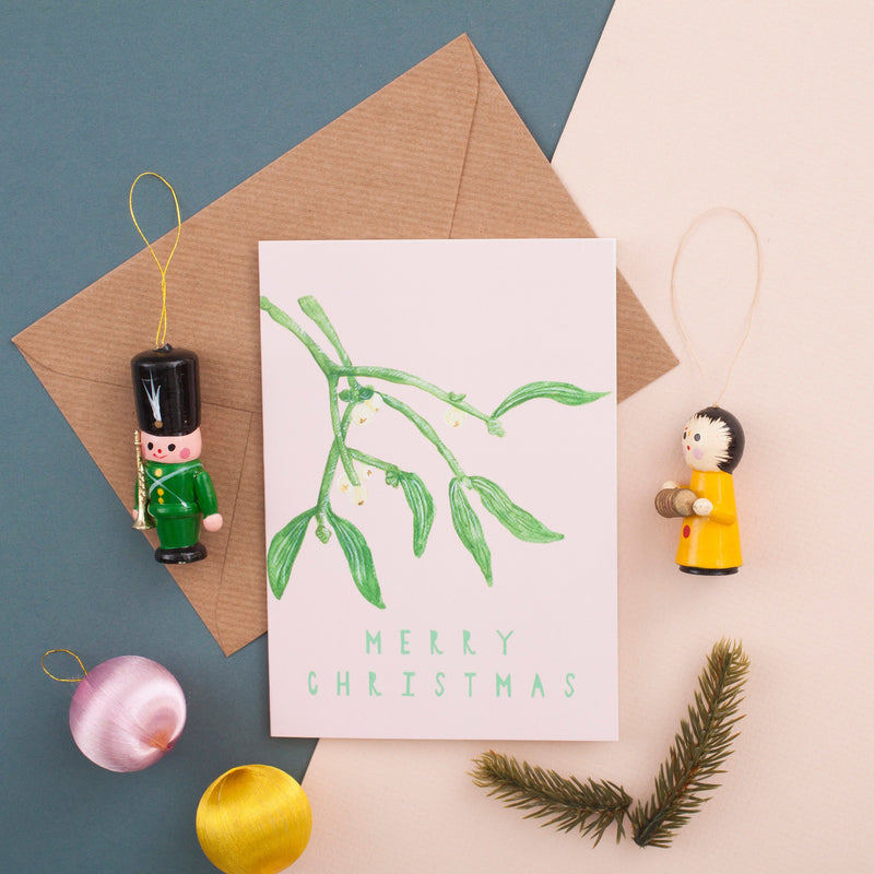 Merry Christmas Mistletoe Card - A6