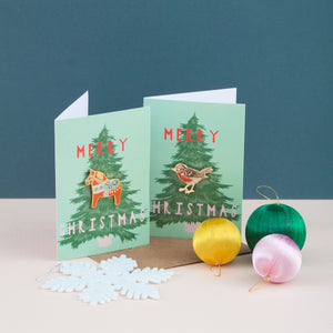 Enamel Pin Christmas Card - Robin Pin