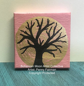 Tiny Art-Golden Moon - Artist Penny Fairman - Bohemian Moon Boutique