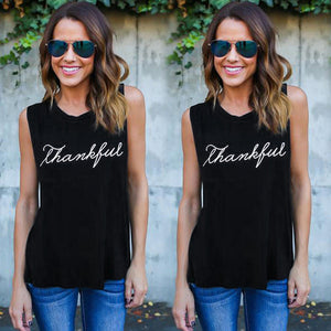Women's Thankful Sleeveless Tank Tops Blouse T-Shirt