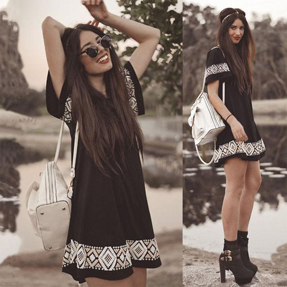 Boho Women Mini Dress Swing A-Line Short Sleeve Black - Bohemian Moon Boutique