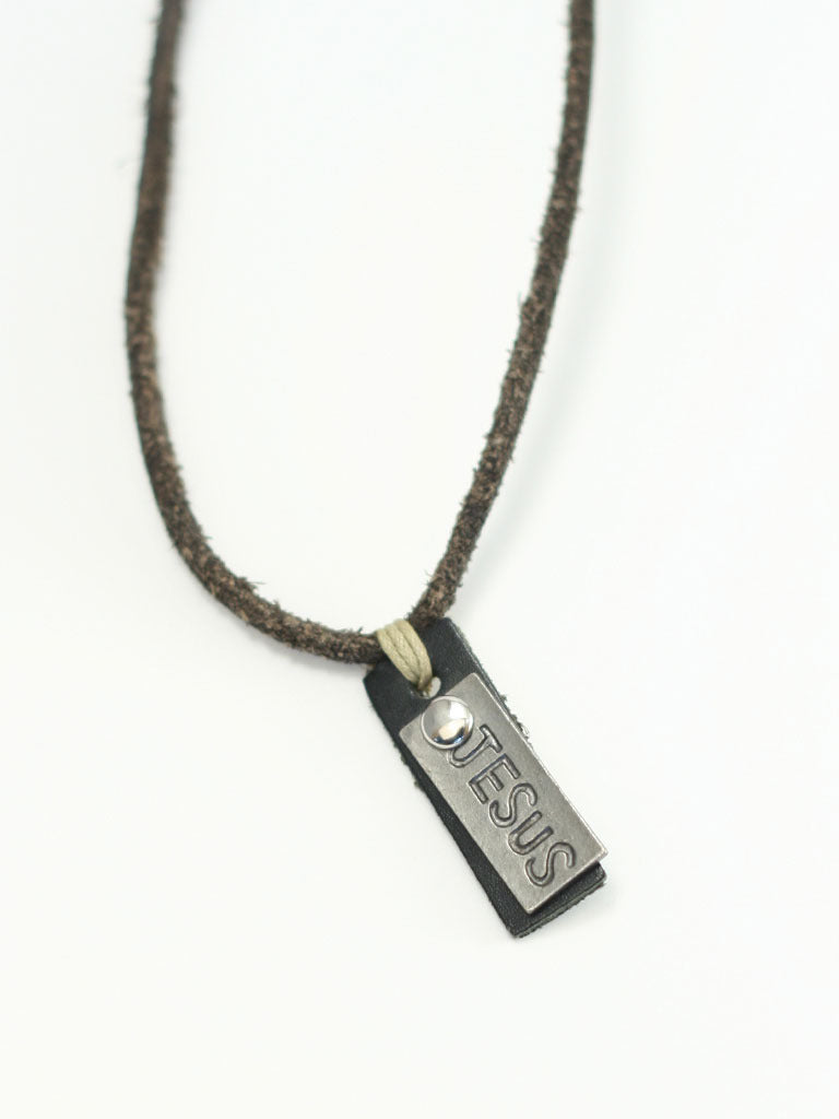 Jesus Tag Adjustable Leather Christian Necklace