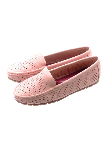 Larrie Pink Comfortable Moccasin Style Flats
