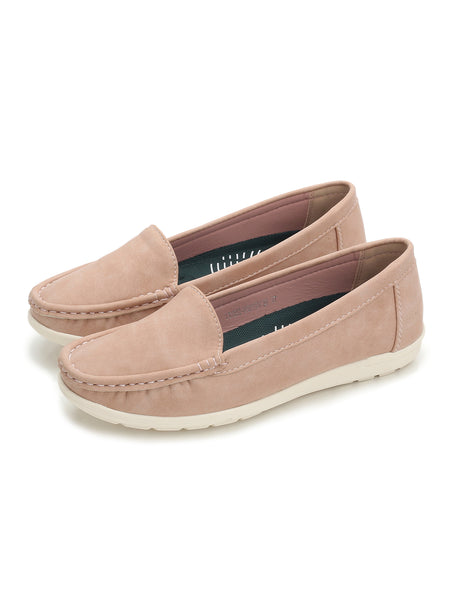 Larrie Pink Casual Basic Loafer Flats