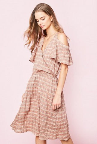 Cold Shoulder Midi Dress - Sunset
