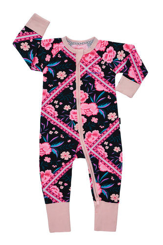 Bonds Wondersuit zippy | Floral zigzag onesie