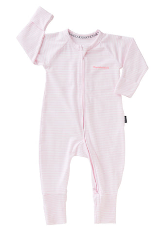 Bonds Wondersuit zippy | Stripey pink onesie