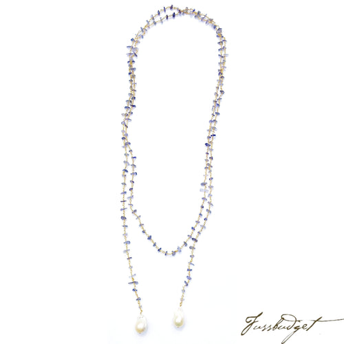 Lariat Chain with Iolite and Freshwater Pearls-Fussbudget.com