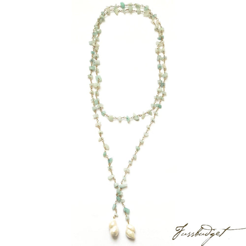 Lariat Chain with Amazonite and Freshwater Pearls-Fussbudget.com