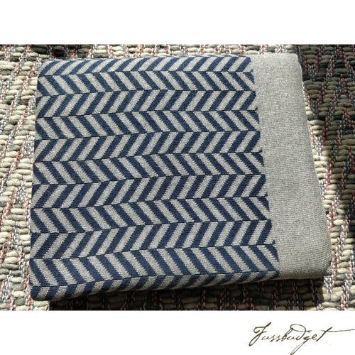 Cotton Throw Blanket - Zima Collection - Navy/Grey - 100% Cotton-Fussbudget.com