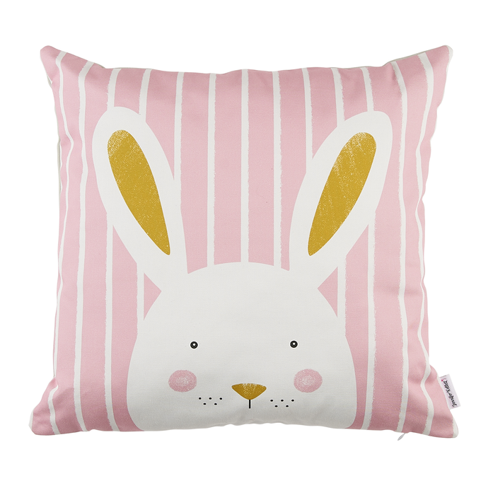 Stripy Bunny Pink Cushion
