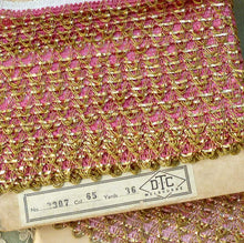 Load image into Gallery viewer, Vintage Pink and Gold Tinsel Trim