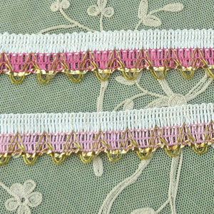 Vintage Pink and Gold Tinsel Trim