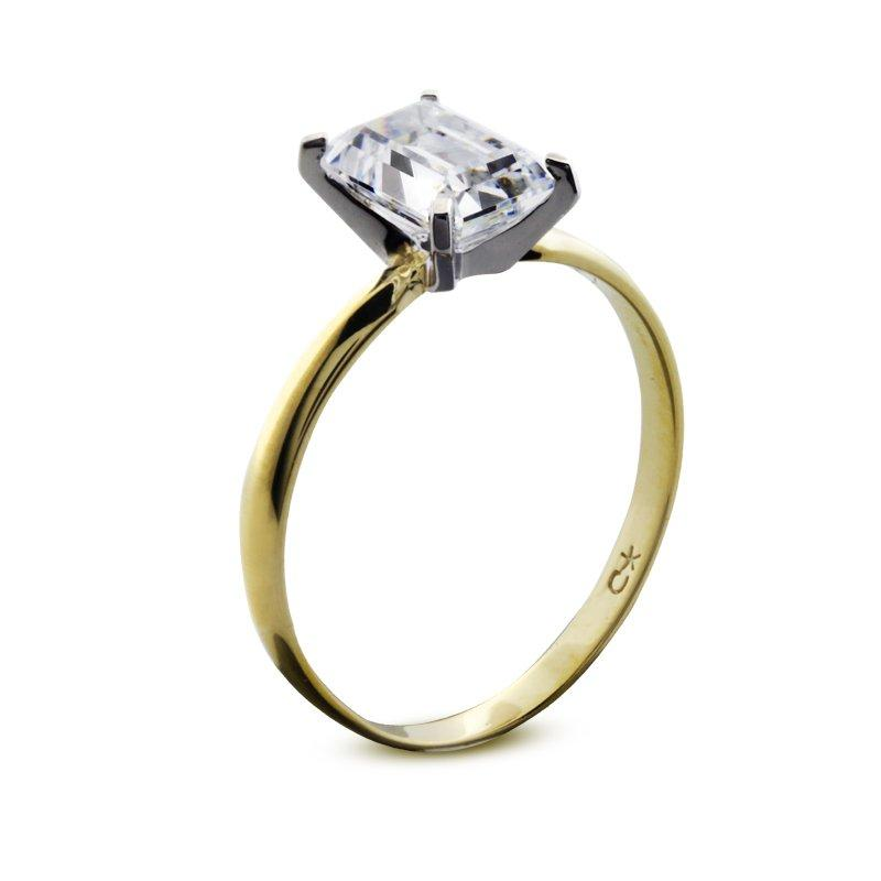 4 Prongs Emerald Cut Solitaire Yellow Gold