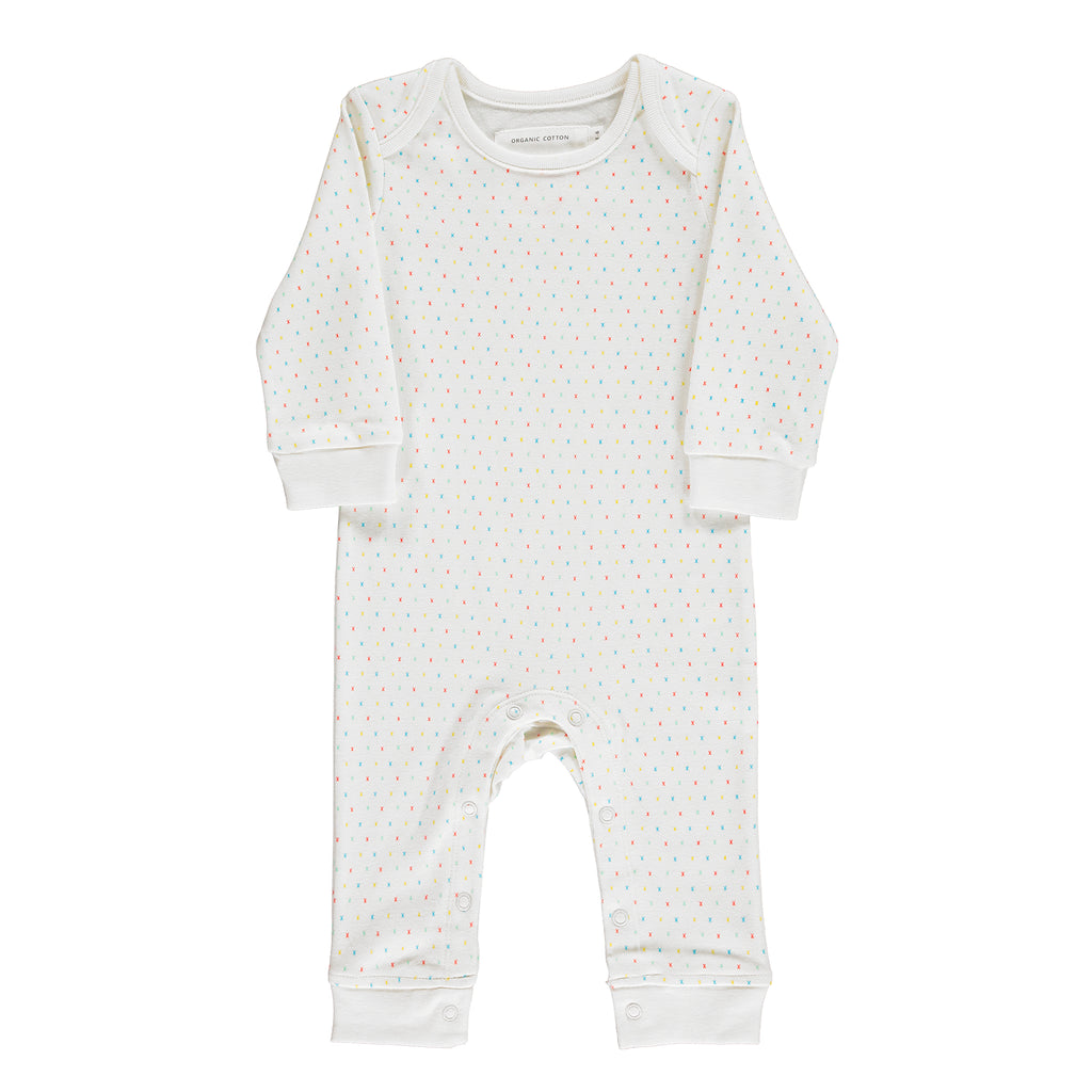 Gender Neutral and Unisex Organic Baby Grow: Baby Romper With Multi-Coloured Kisses Design