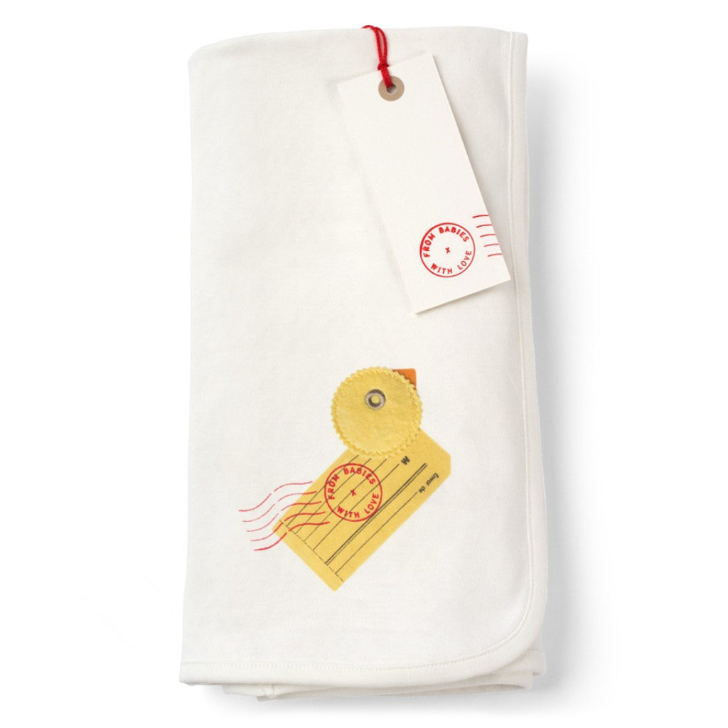 Duck and Kisses Reversible Pram Blanket Made From 100% Organic Cotton. Free Drawstring Gift Bag and Greetings Card with All Profits To Abandoned Children.