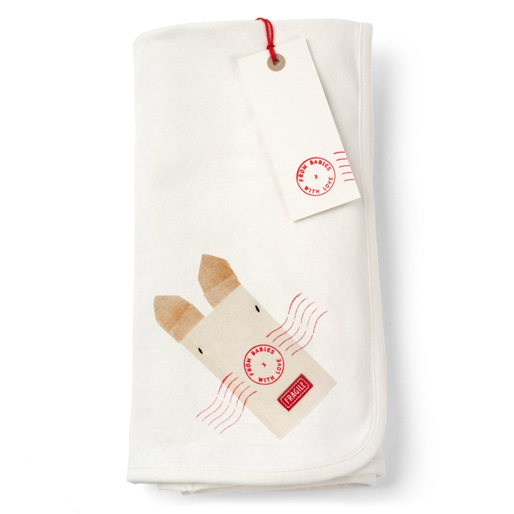 Rabbit and Kisses blanket Made From 100% Organic Cotton. Free Drawstring Gift Bag and Greetings Card with All Profits To Abandoned Children.