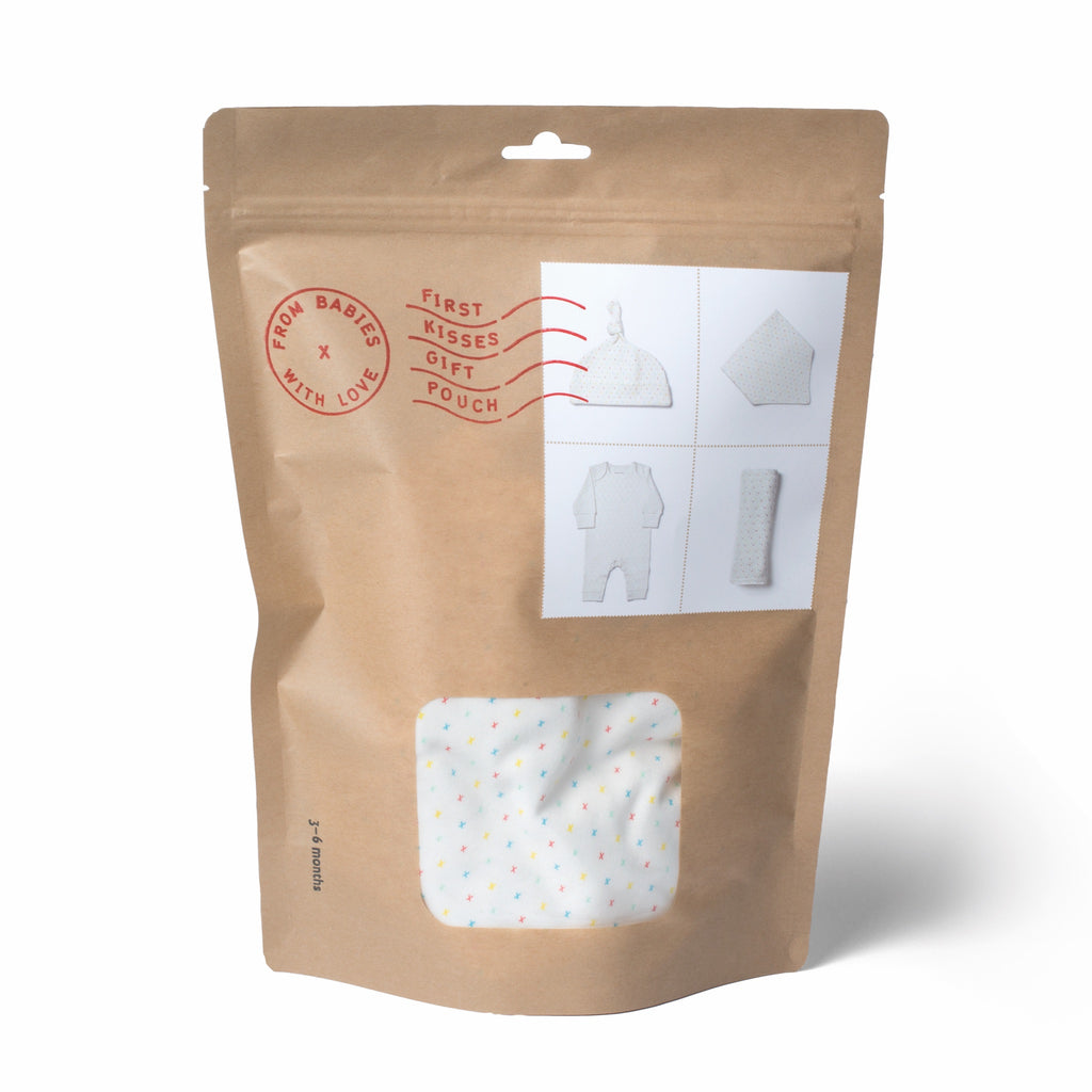 First Kisses Gift Pouch Made From 100% Organic Cotton. Free Drawstring Gift Bag and Greetings Card with All Profits To Abandoned Children.