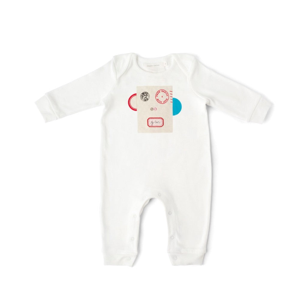 Monkey Baby Grow Made From 100% Organic Cotton. Free Drawstring Gift Bag and Greetings Card with All Profits To Abandoned Children.