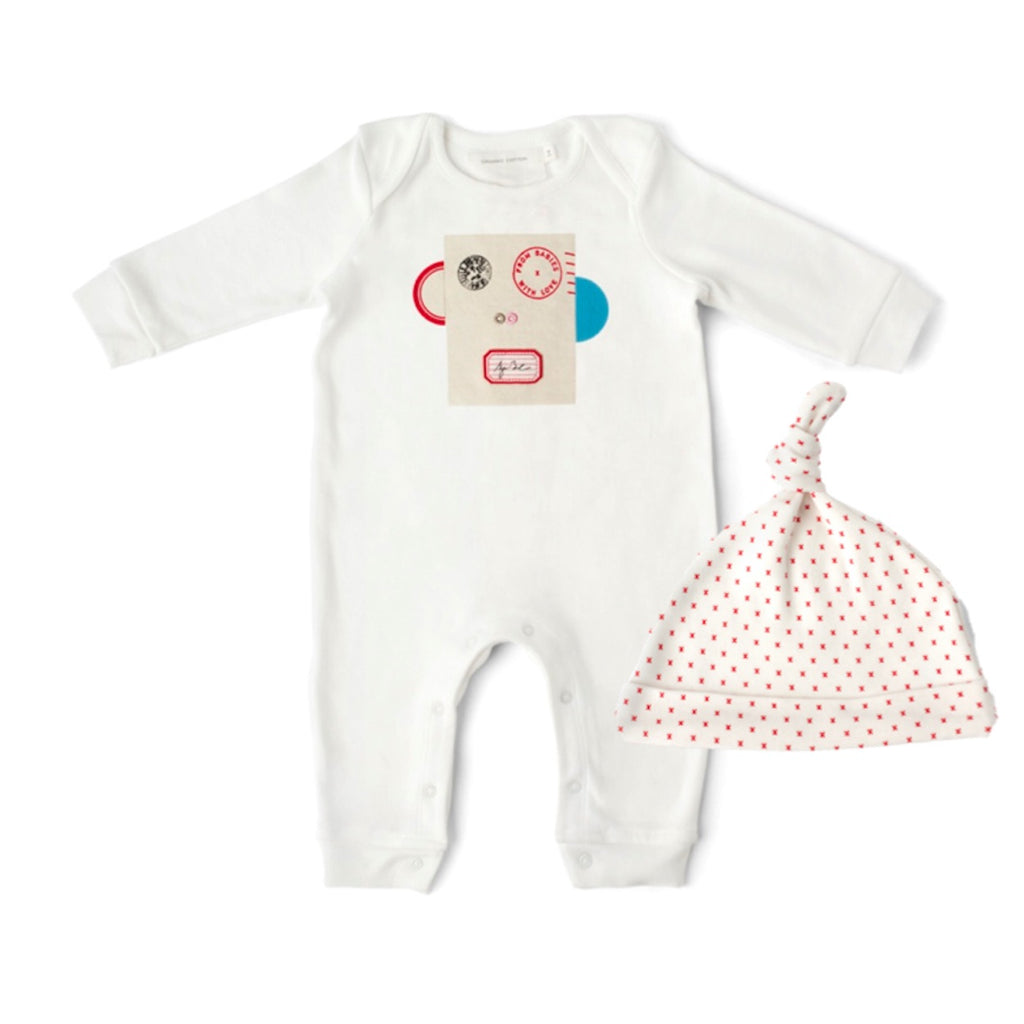 Penguin and French Grey Kisses Baby Grow and Knot Hat Gift Set. With Complementary Greetings Card and Drawstring Gift Bag.