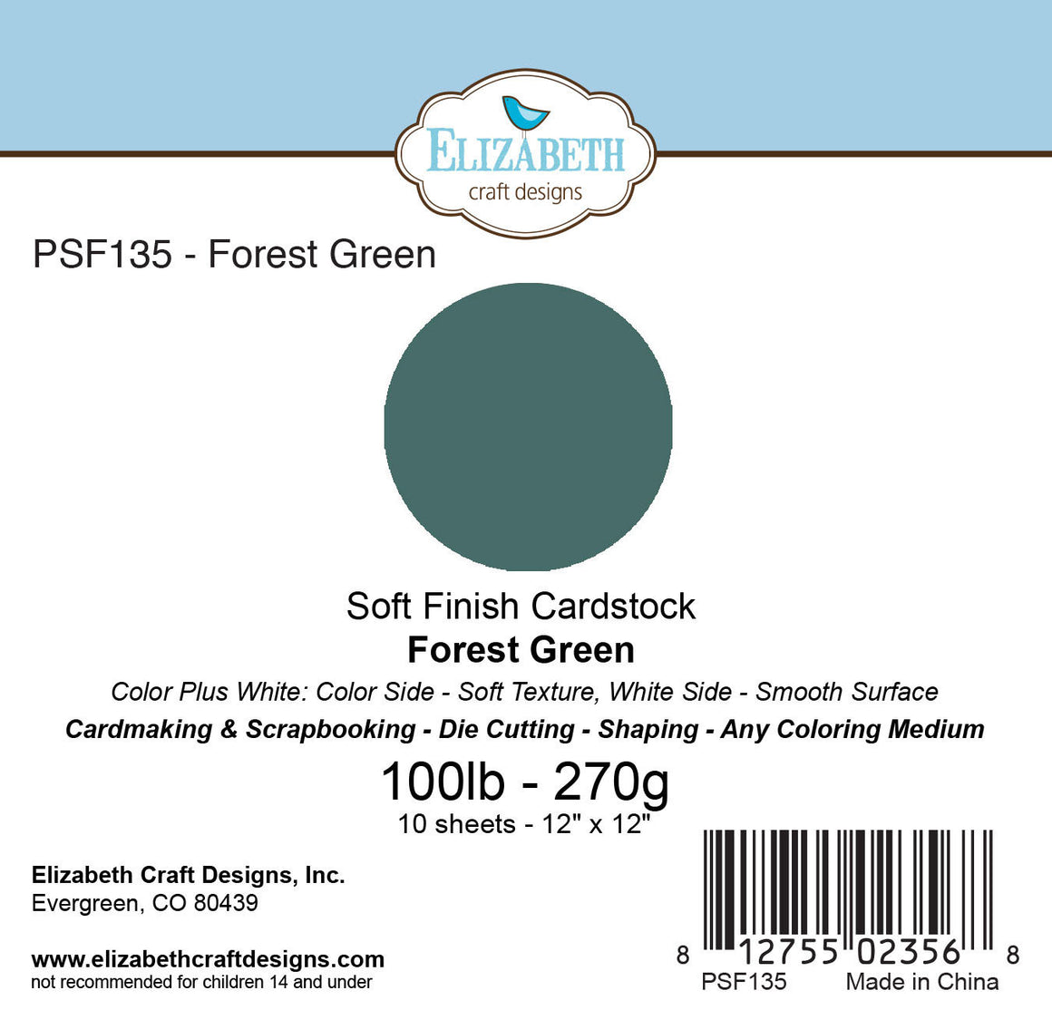Soft Finish Cardstock, Forest Green - Cardstock - ElizabethCraftDesigns.com