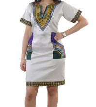 Load image into Gallery viewer, Whitegreen Dashiki Dress