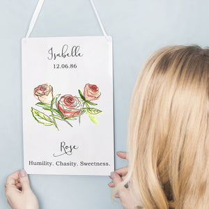 Birth Flower Personalised Water Colour Hanging Print