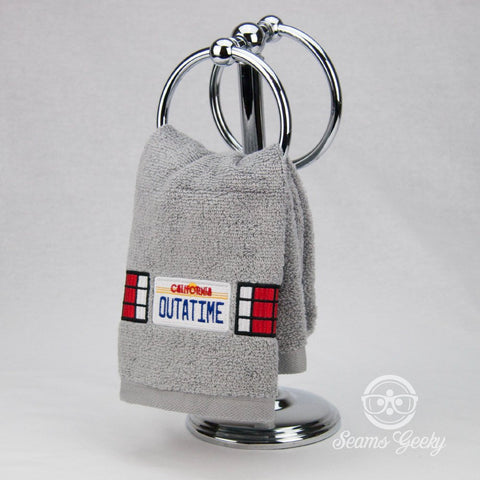 Back to the Future Hand Towel - OUTATIME Delorean License Plate- Embroidered Towel
