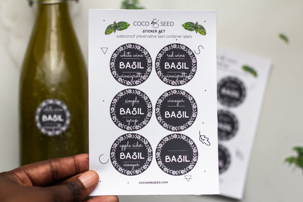 Basil container labels vinyl