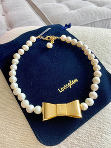 Bow and pearl necklace - Lovinglam