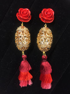Red tassel earrings - Lovinglam