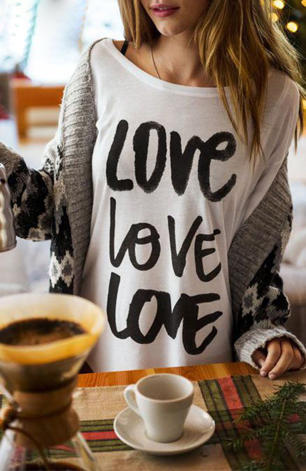 Love Print Pullover  Blouse/Tee - Rodeo.Driving