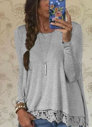 Long Sleeve Lace & Crocheted Top - Rodeo.Driving