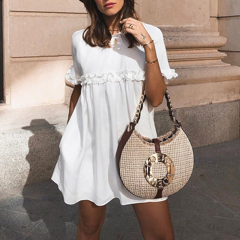 Fashion White Short Sleeves Mini Dress