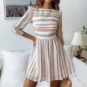 Casual Round Collar   Slim Strips Mini Dresses