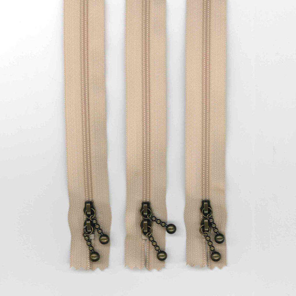 40cm Beige Double Ended Zipper Pack