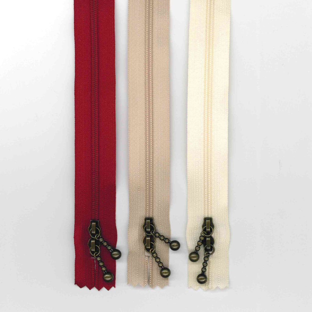 40cm Mixed Double Ended Zipper Pack - Antique Gold