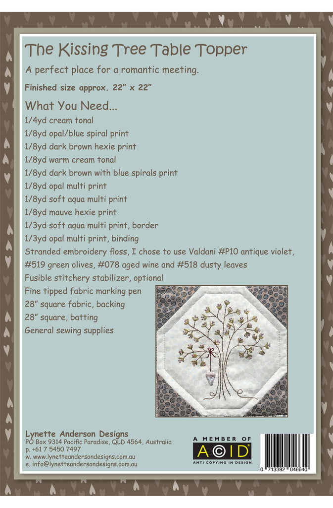 The Kissing Tree Table Topper - downloadable pattern