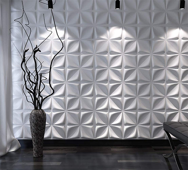 SOOMJ Decorative 3D Wall Panels Diamond Design Pack of 12 Tiles 32 Sq Ft (Plant Fiber)