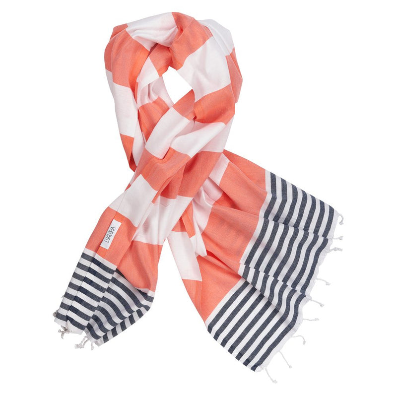 Striped Goodness Coral & Navy