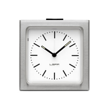 Leff Block Clock Steel